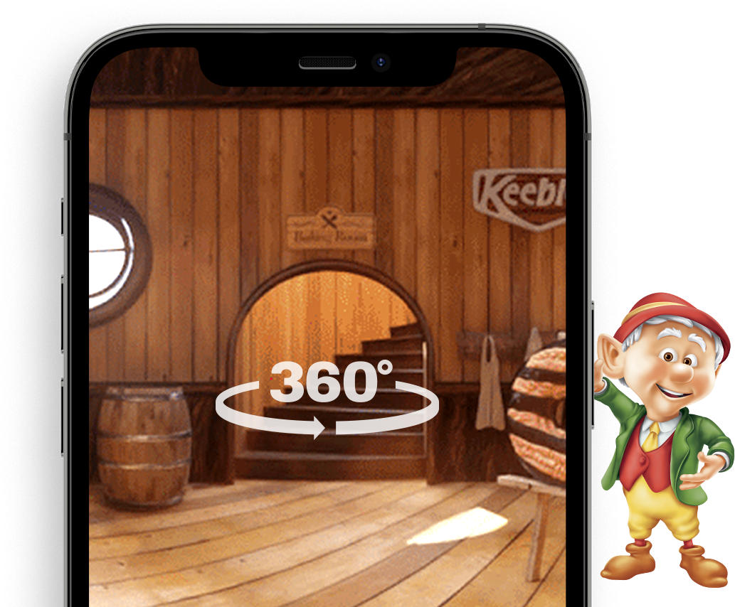 Image of Ernie the elf and a VR mobile device experience.